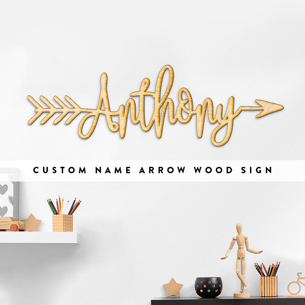 Custom Name Word Arrow Wood Sign