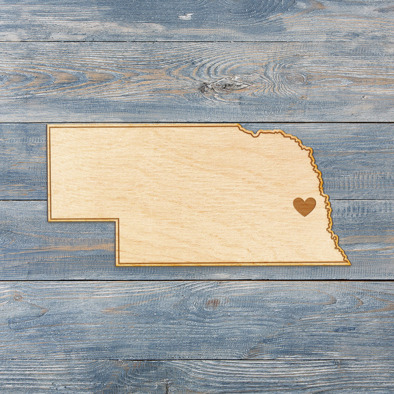 Nebraska Cut Sign With Custom Engraved Heart Placement