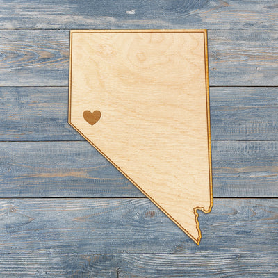 Nevada Cut Sign With Custom Engraved Heart Placement