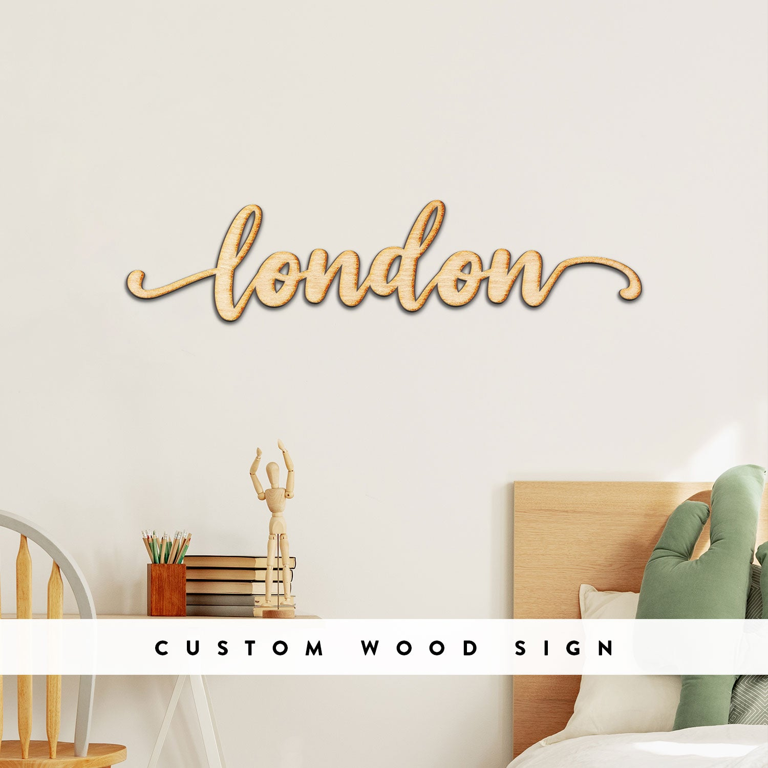 Custom Neverland Script Word Wood Sign