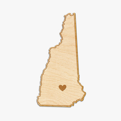 New Hampshire Cut Sign With Custom Engraved Heart Placement