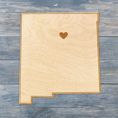 New Mexico Cut Sign With Custom Engraved Heart Placement