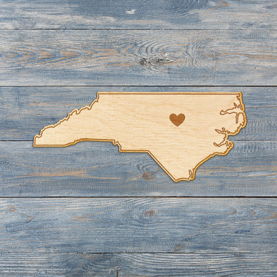 North Carolina Cut Sign With Custom Engraved Heart Placement
