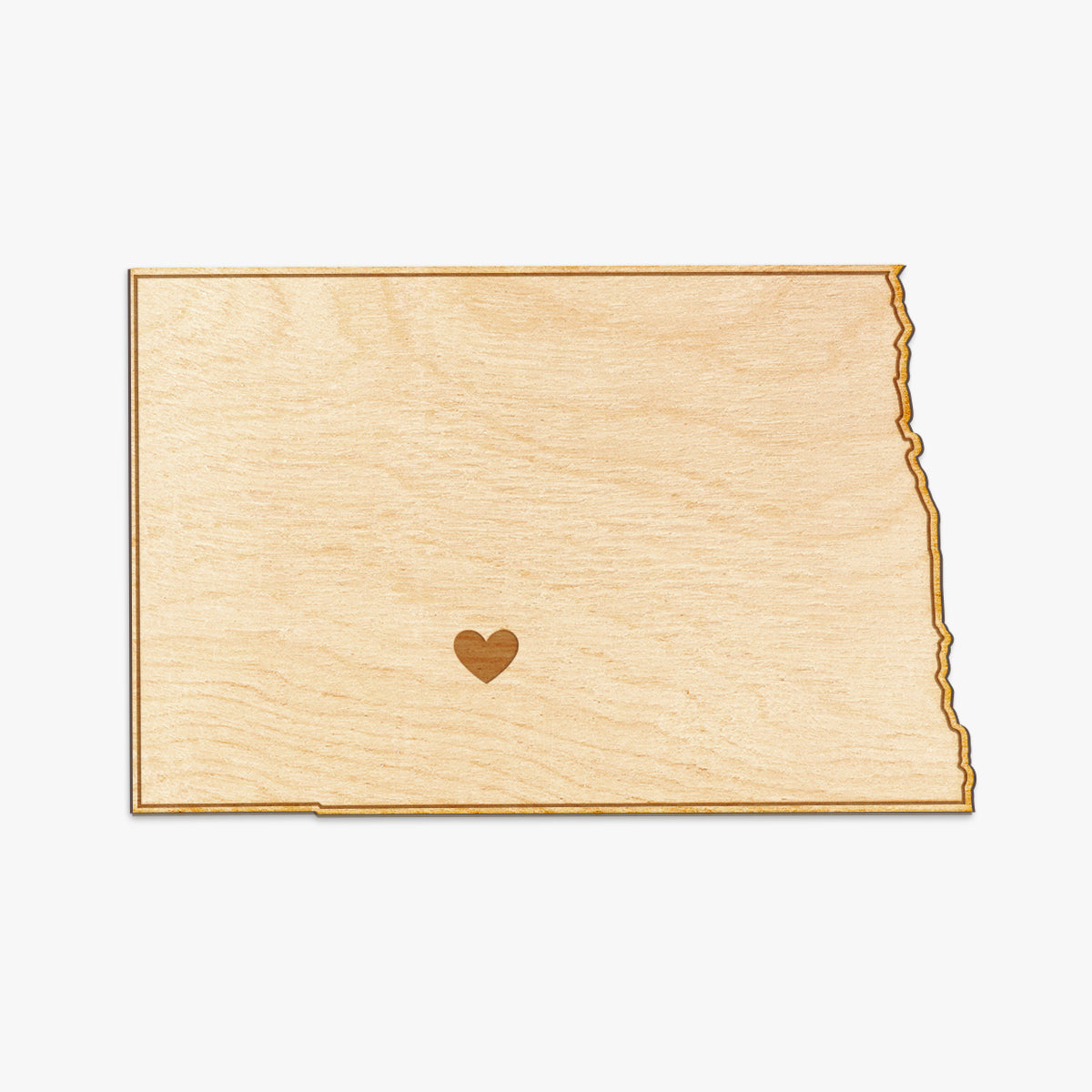 North Dakota Cut Sign With Custom Engraved Heart Placement