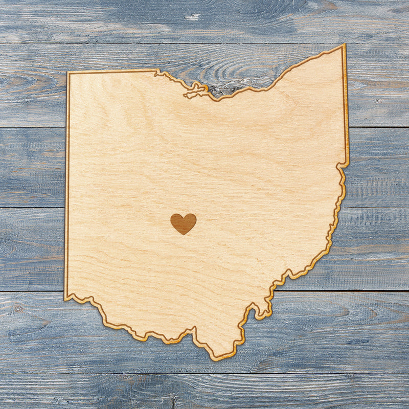 Ohio Cut Sign With Custom Engraved Heart Placement