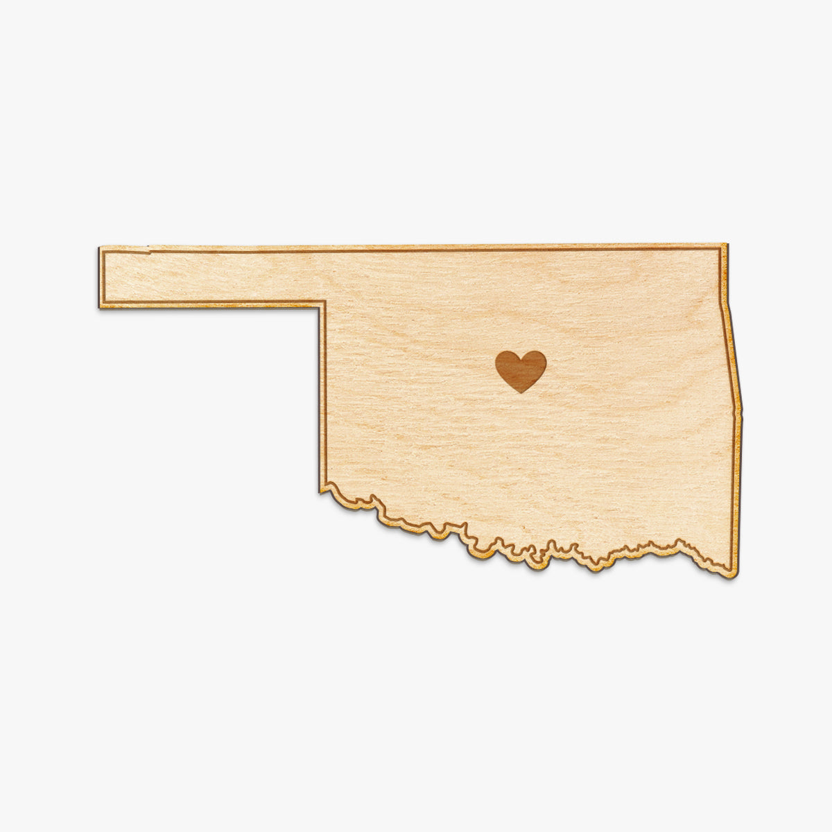 Oklahoma Cut Sign With Custom Engraved Heart Placement