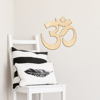 Om Symbol Wood Cut Sign