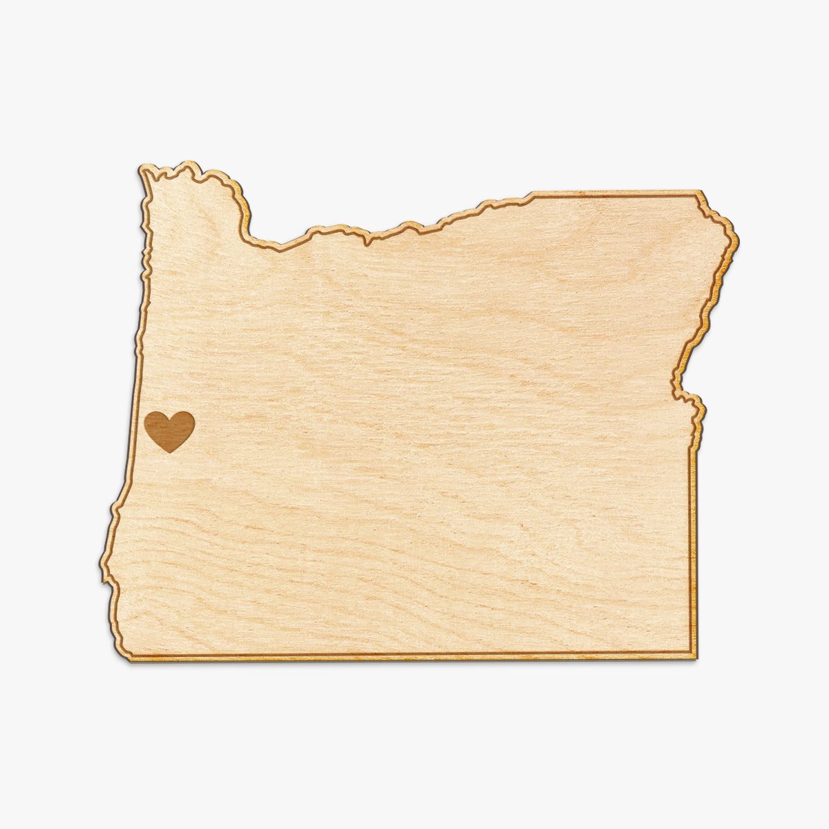 Oregon Cut Sign With Custom Engraved Heart Placement