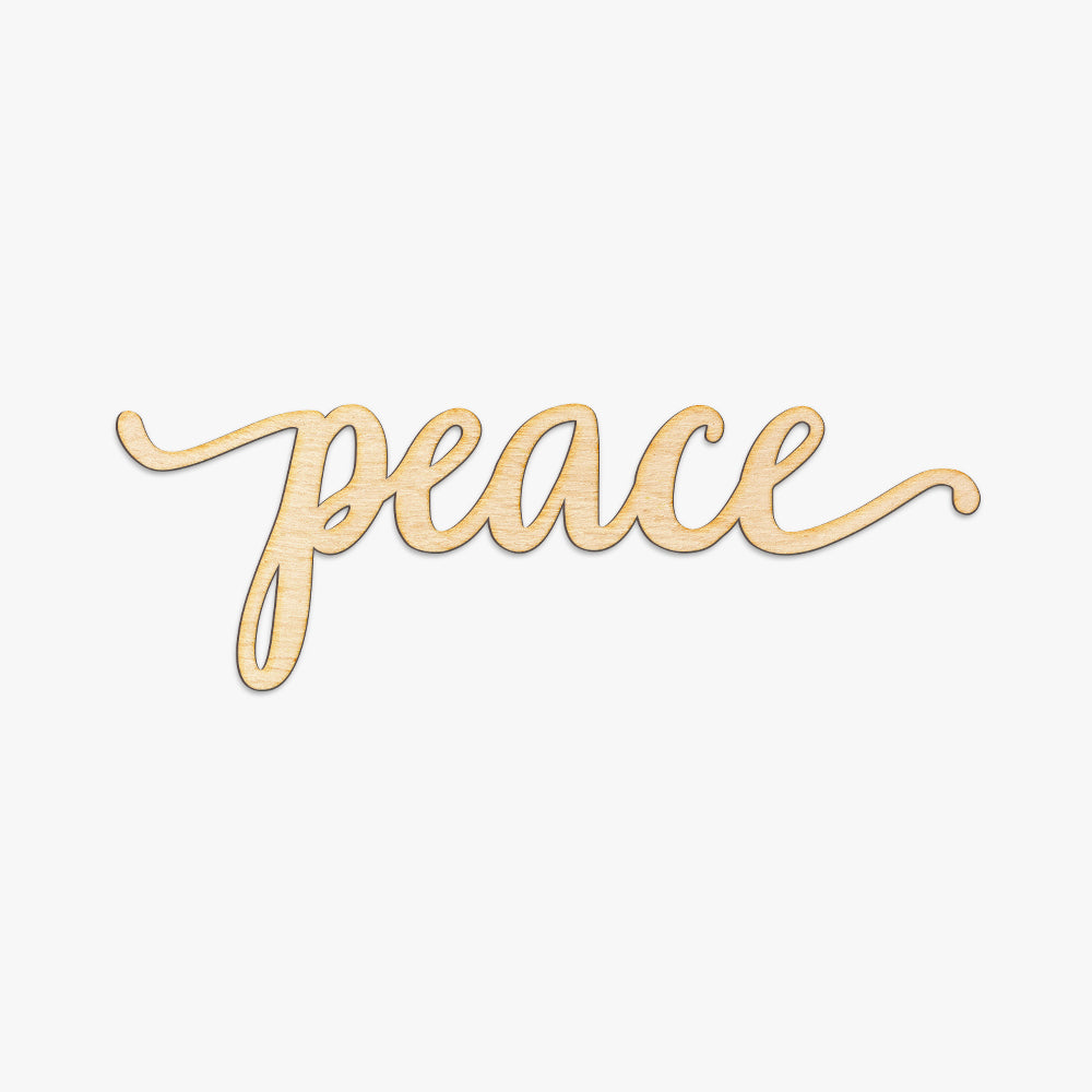 Peace Script Word Wood Sign