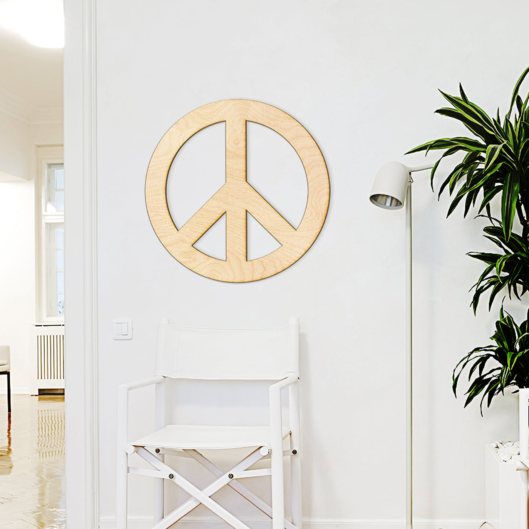 Peace Sign Wood Cut Sign