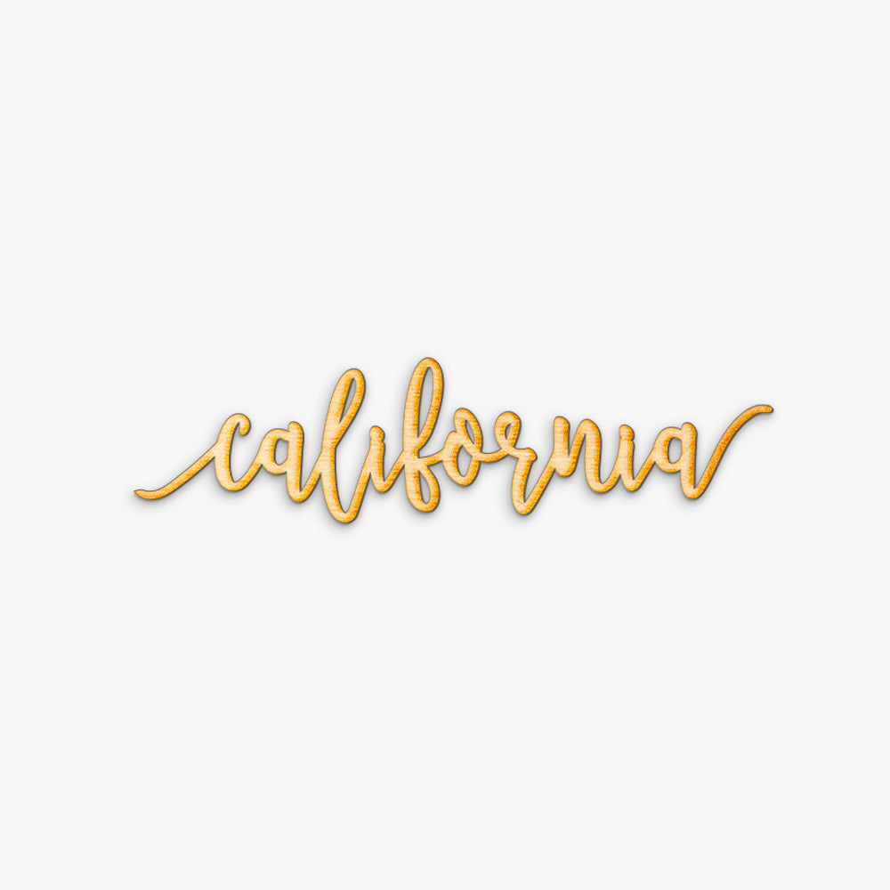 Pen Script California Wood Sign