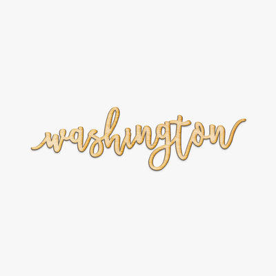 Pen Script Washington Wood Sign