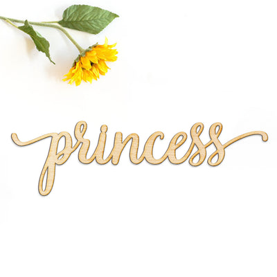 Princess Script Word Wood Sign