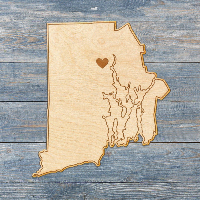 Rhode Island Cut Sign With Custom Engraved Heart Placement
