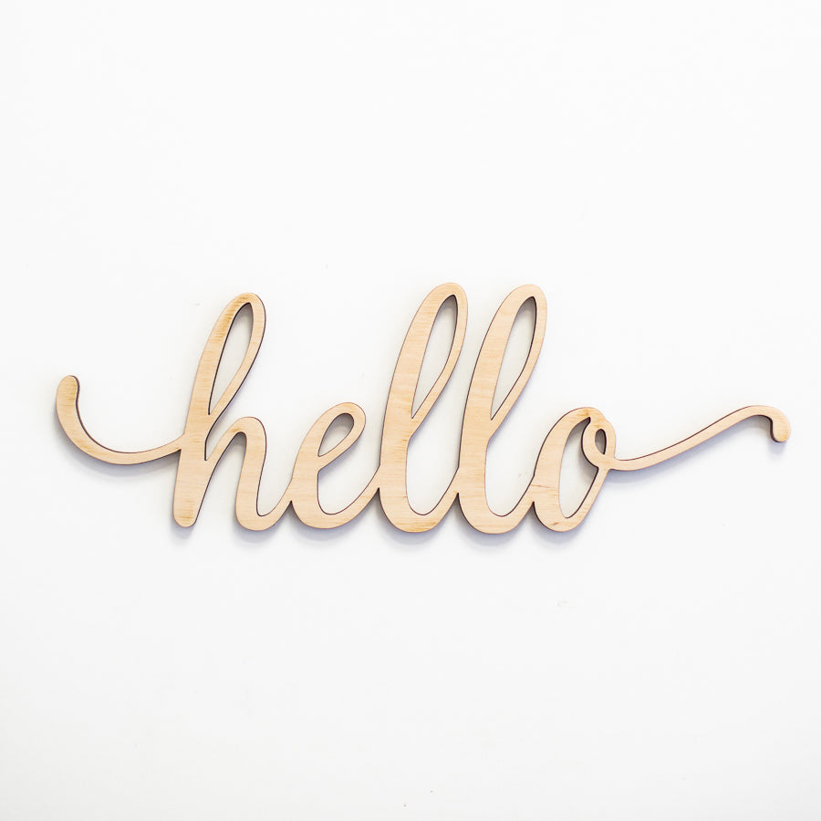 Script Hello Wood Sign