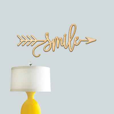 Smile Arrow Wood Sign