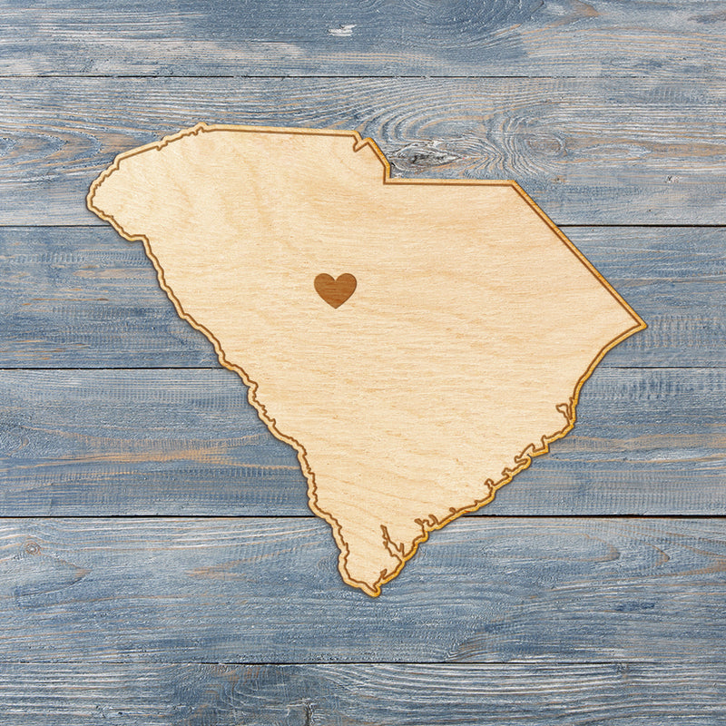 South Carolina Cut Sign With Custom Engraved Heart Placement