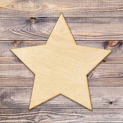 Five Point Star Cut Wood Sign