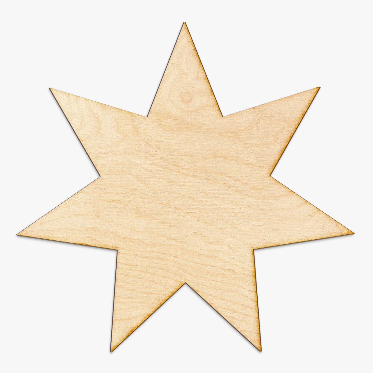 Seven Point Star Cut Wood Sign