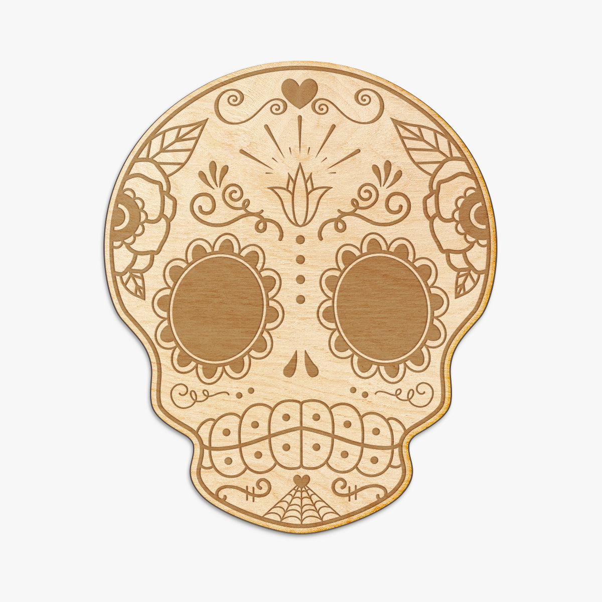 Sugar Skull Engraved Wood Sign
