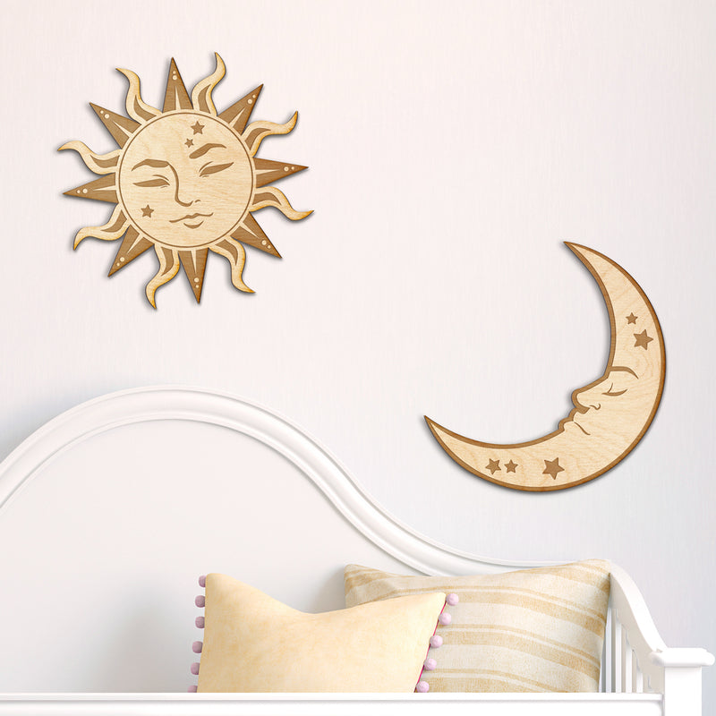 Sun and Moon Engraved Wood Sign Set