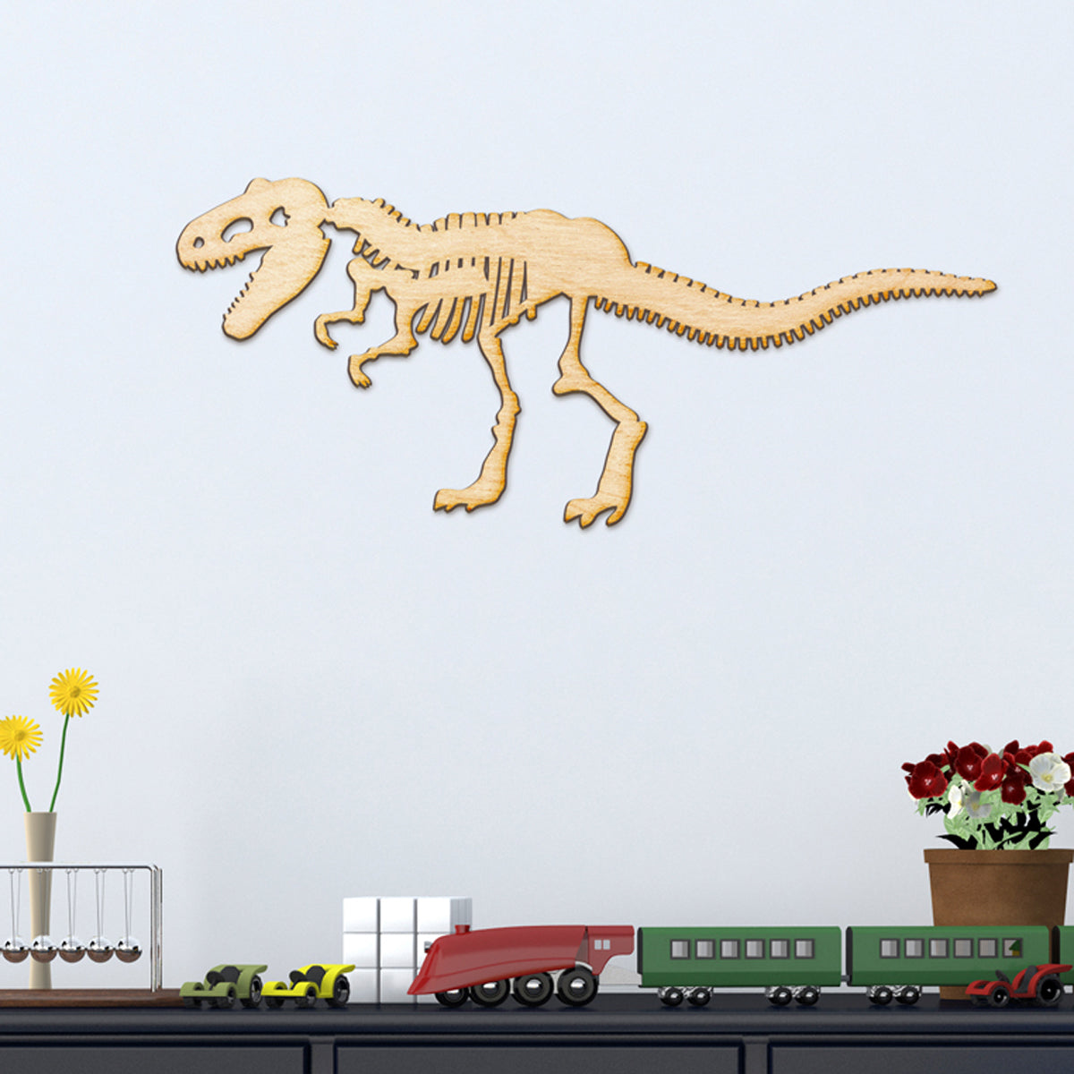 T-Rex Skeleton Wood Cut Sign