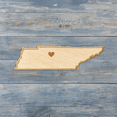 Tennessee Cut Sign With Custom Engraved Heart Placement