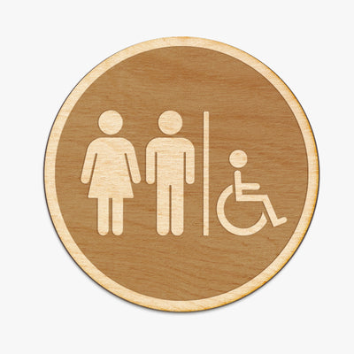 Restroom Circle Wood Engraved Sign