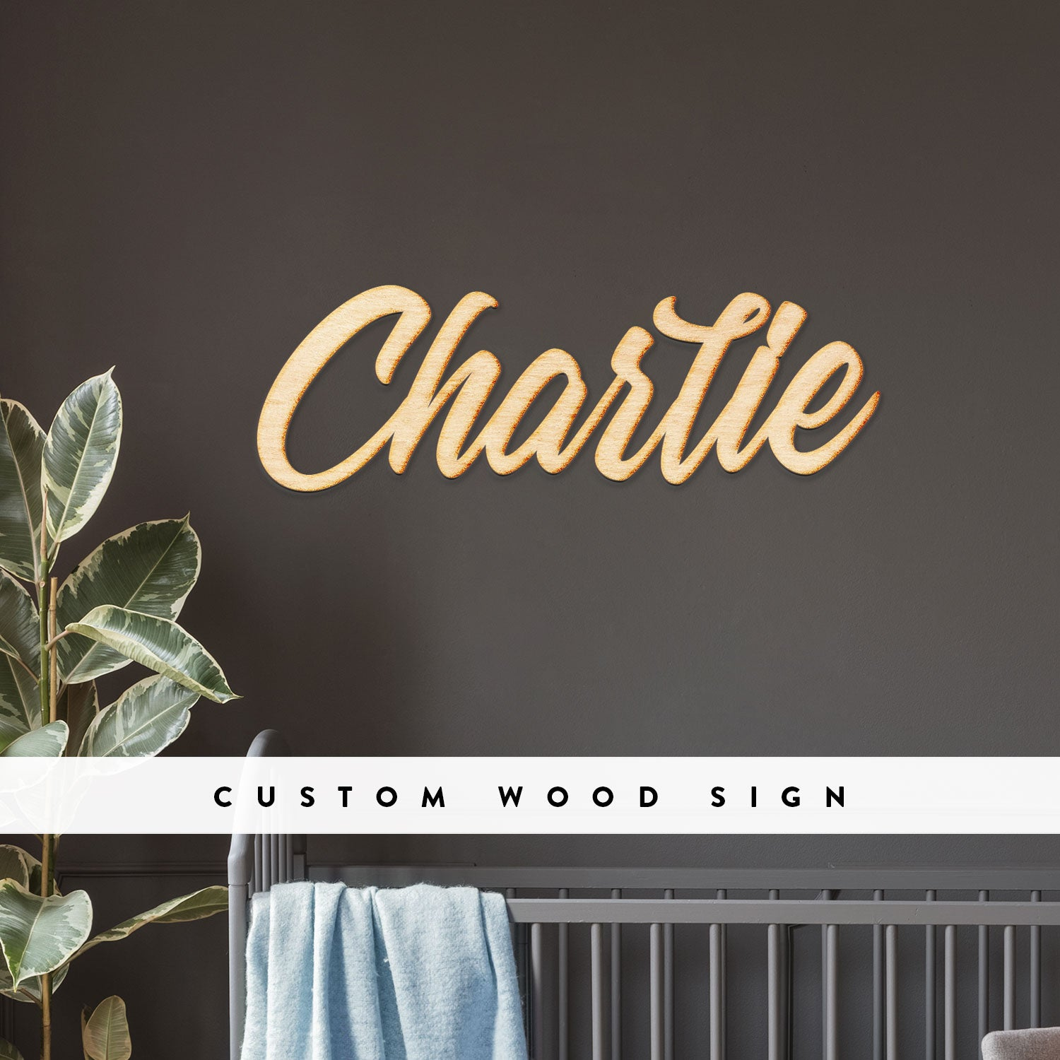 Custom Vermont Script Word Wood Sign
