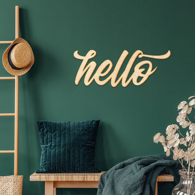 Hello Vermont Script Wood Sign
