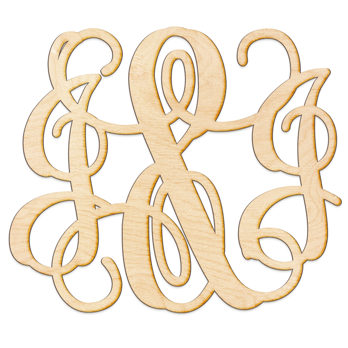 Vine Ampersand Initials Monogram Wood Sign