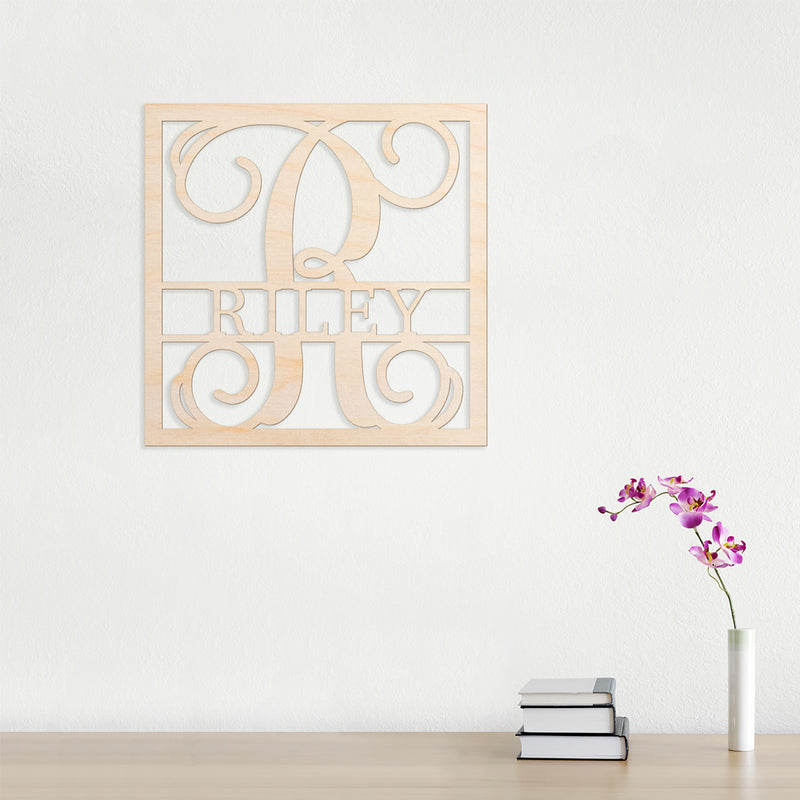 Vine Name Frame Cut Wood Sign