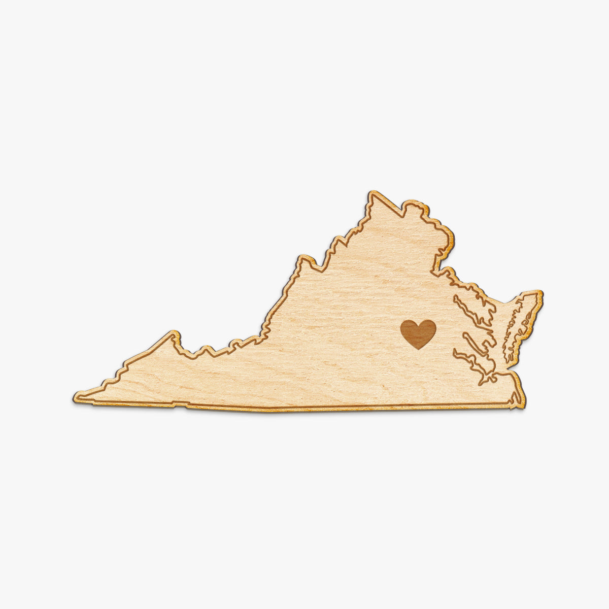 Virginia Cut Sign With Custom Engraved Heart Placement
