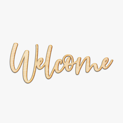 Welcome Jules Script Wood Cut Sign