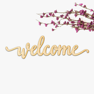 Welcome Script Wood Cut Sign