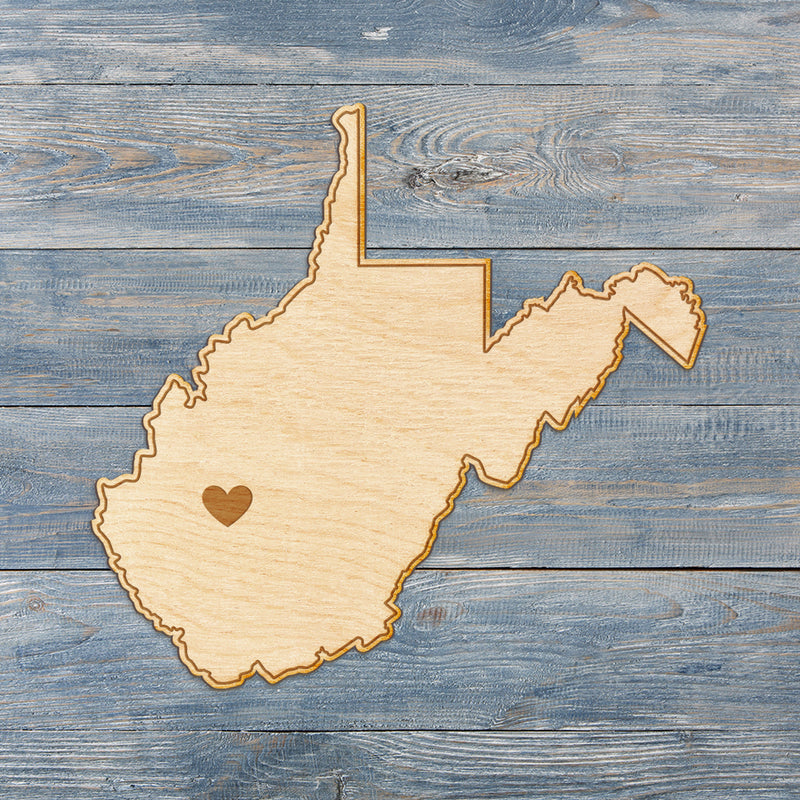 West Virginia Cut Sign With Custom Engraved Heart Placement