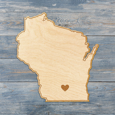 Wisconsin Cut Sign With Custom Engraved Heart Placement