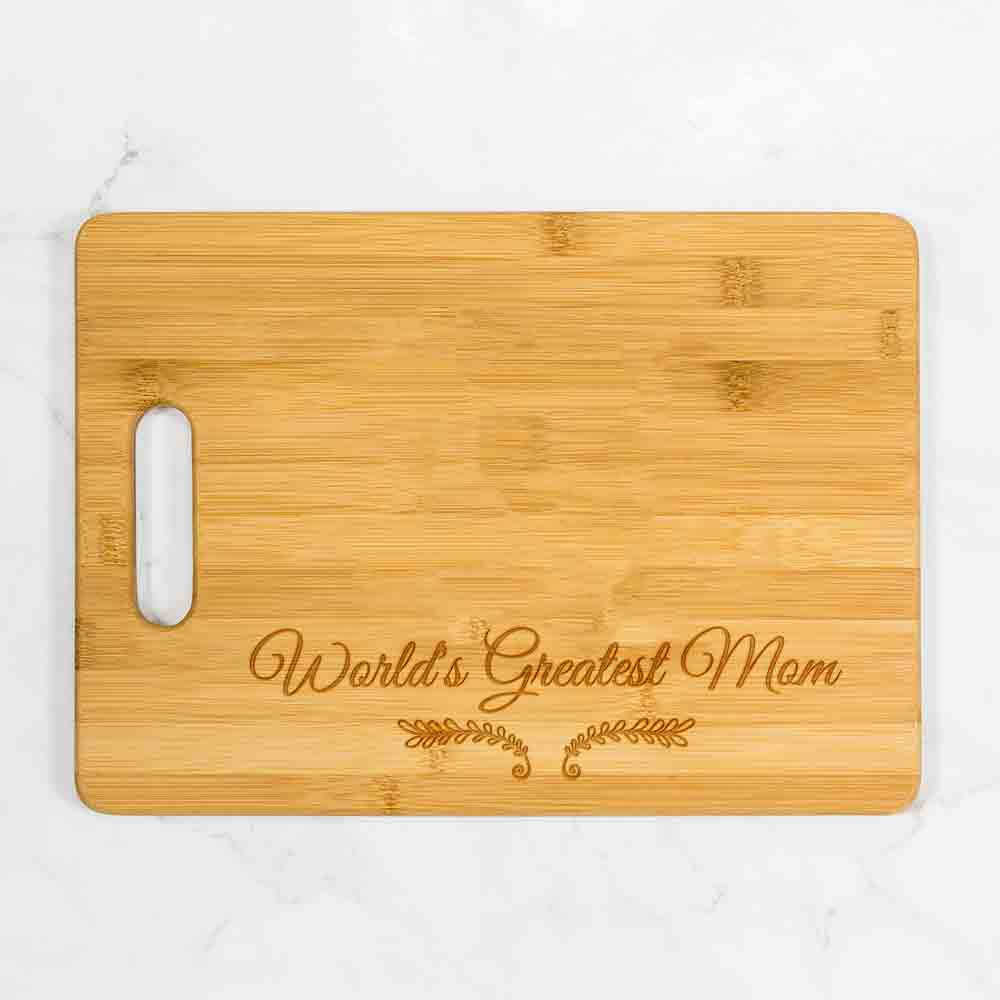 "World's Greatest Mom Cutting Board with Handle 13.75"" x 9.75"""