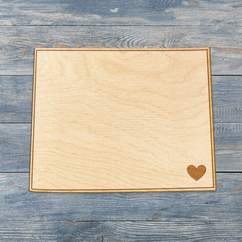 Wyoming Cut Sign With Custom Engraved Heart Placement