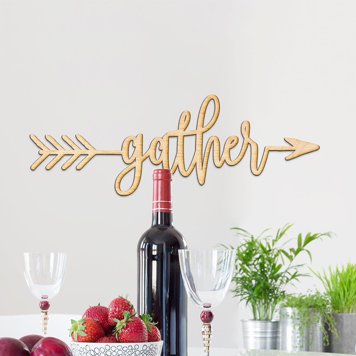 Gather Arrow Wood Sign