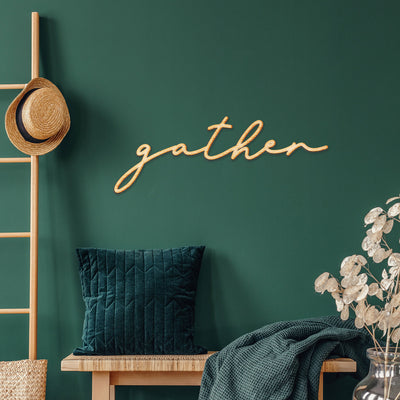 gather Lolly Script Wood Cutout Sign