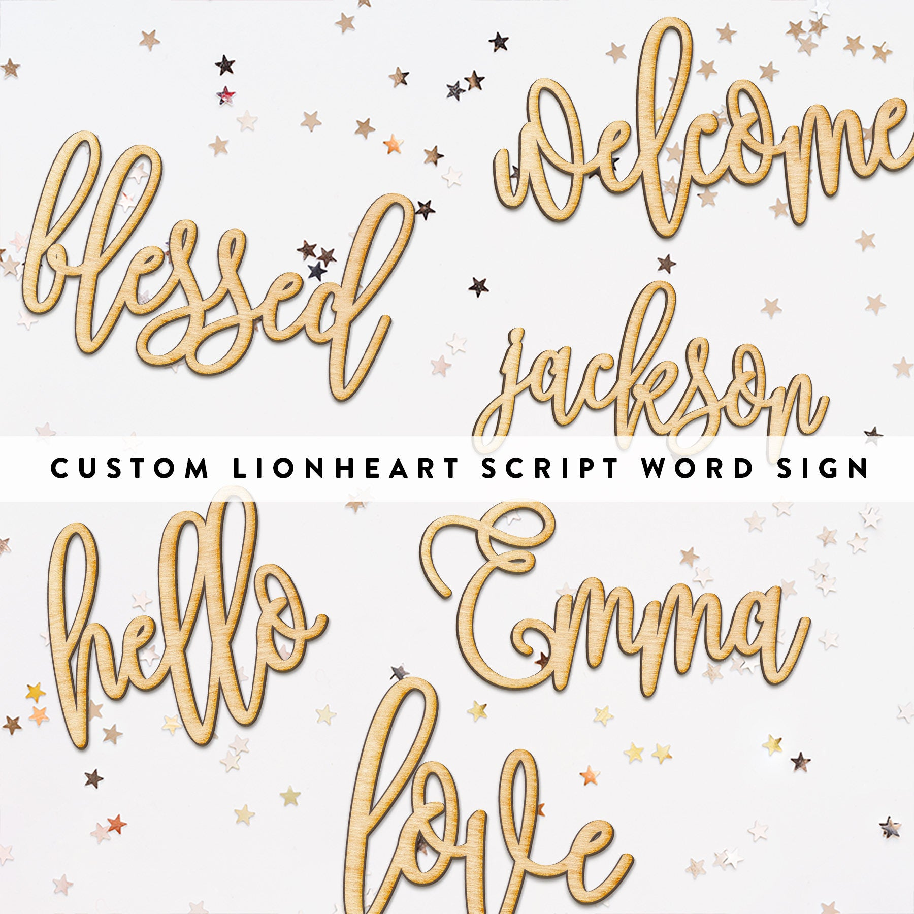Custom Hand Drawn Lionheart Script Word Wood Sign