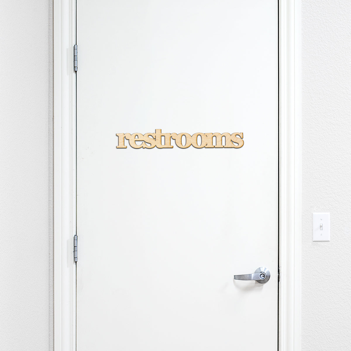 restrooms Wood Sign