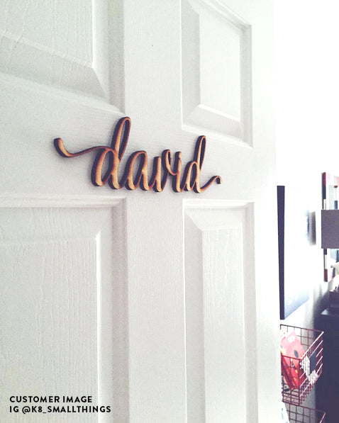 Custom Charlie Script Word Wood Sign