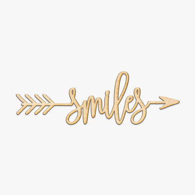 Smiles Arrow Wood Sign