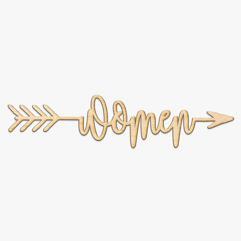 Women Arrow Wood Sign