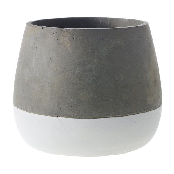 Two tone ceramic planter in a faux concrete finish in size small.