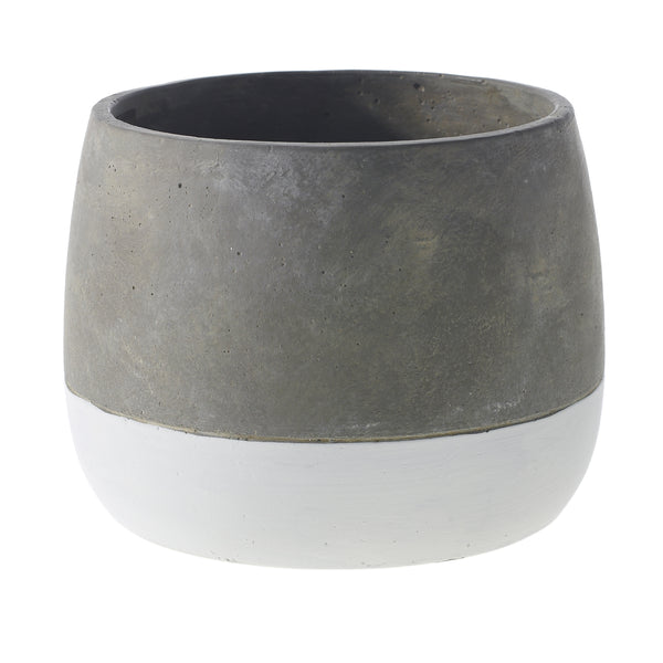 Two tone ceramic planter in a faux concrete finish in size medium.