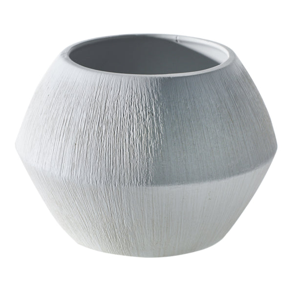 Matte white textured pot in size medium.