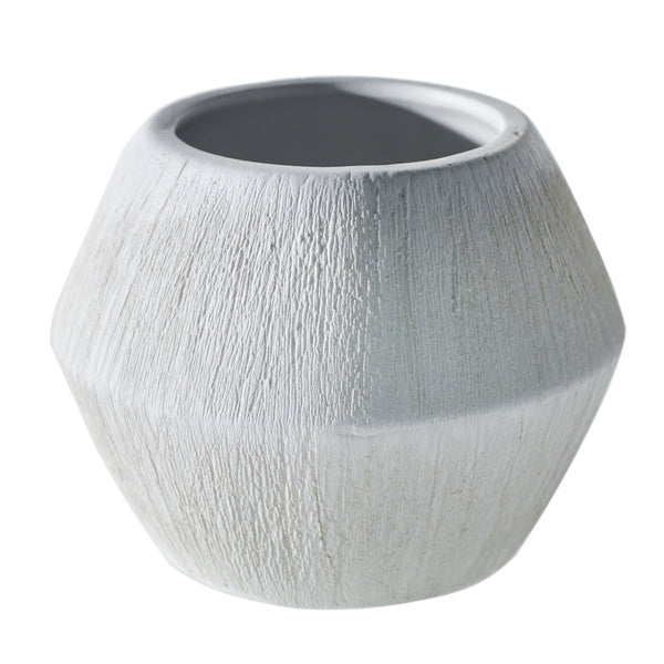 Matte white textured pot in size small.